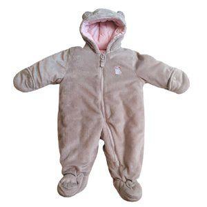 Carters 6-9M Girl Pink & Grey Fleece Snow Suit